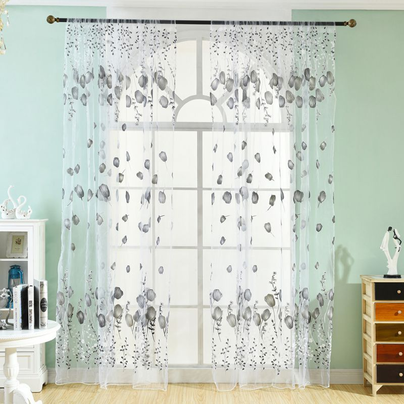 Lovely Window Curtains Sheer Voile Tulle For Bedroom Living Room Balcony Kitchen Floral Printed Tube  Curtain