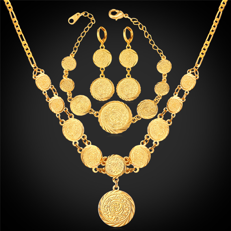 Kpop Arabic Gold Color Jewelry Coin Set Earring Necklace Bracelet