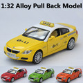 Free shipping, 1:32 taxi alloy toy car model, light music back to power two door, front and rear cover can be opened