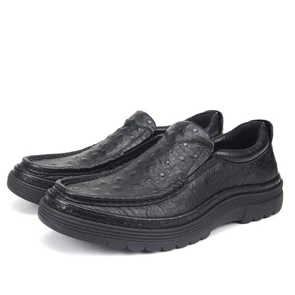 Luxo Sola Preto De Borracha Slip Importados Grossos Flats On Topsiders Clássico Pele Couro 2018 Avestruz Sapatos Sipriks BfqIzWw4t