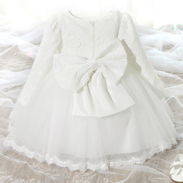 South Korean Children's Wear Girls Long-sleeved Spring and Autumn Princess Dress Kids Clothing Bow Lace Pink White Thin Thick 2017 spring and summer fashion girls clothing europe and the united states wind dress long sleeved lace princess peng peng dress