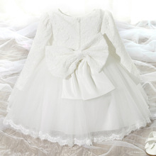 South Korean Children s Wear Girls Long sleeved Spring and Autumn Princess Dress Kids Clothing Bow