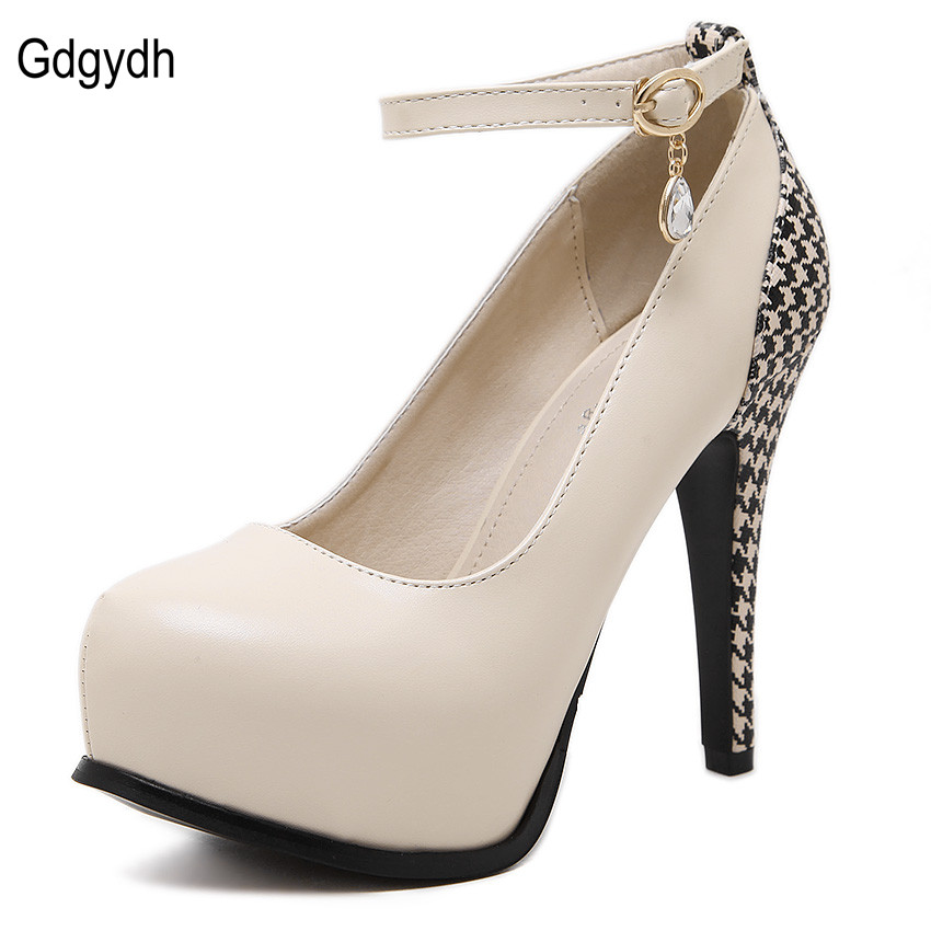 2016 Venta Caliente Mujer Casual Dedo Del Pie Redondo Bombas de Las Mujeres Delgadas de Tacón Alto Hebilla Solos Zapatos Muchachas de La Manera Zapatos de Plataforma Rhinestone