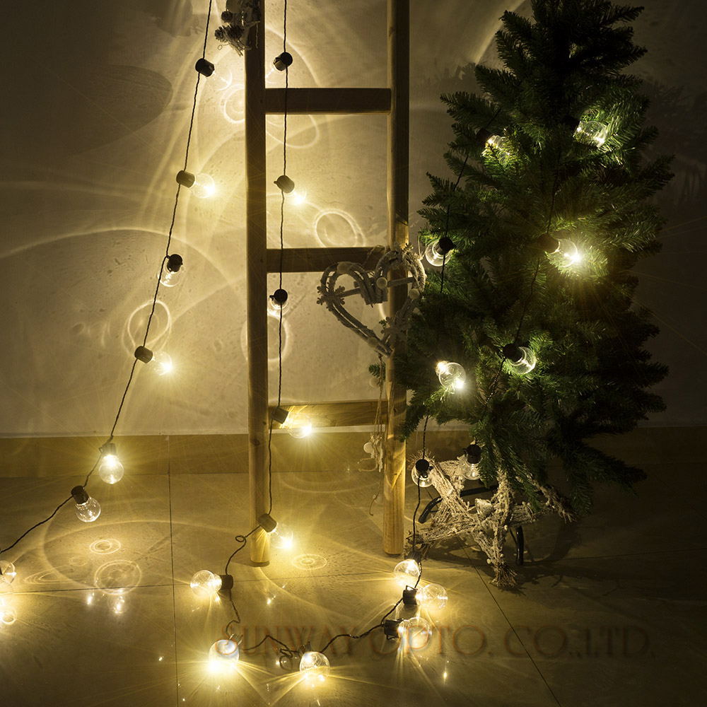 Novelty 38 pcs clear ball 10m led string festoon lights for Outdoor decorative lights