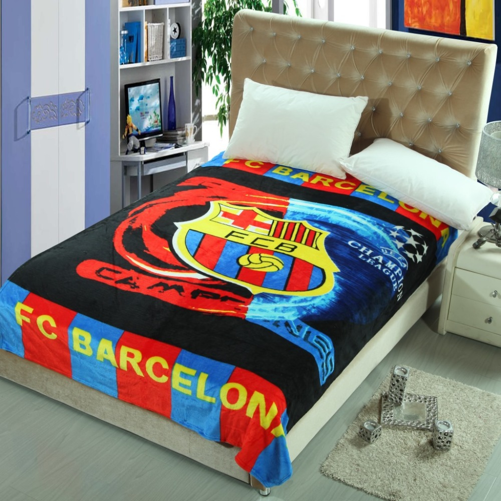 FC Barcelona Children Blanket Kids Blankets Baby Fleece Sleeping Fit For Sofa Bed Plane Travel Plaids In Swaddling From Mother On
