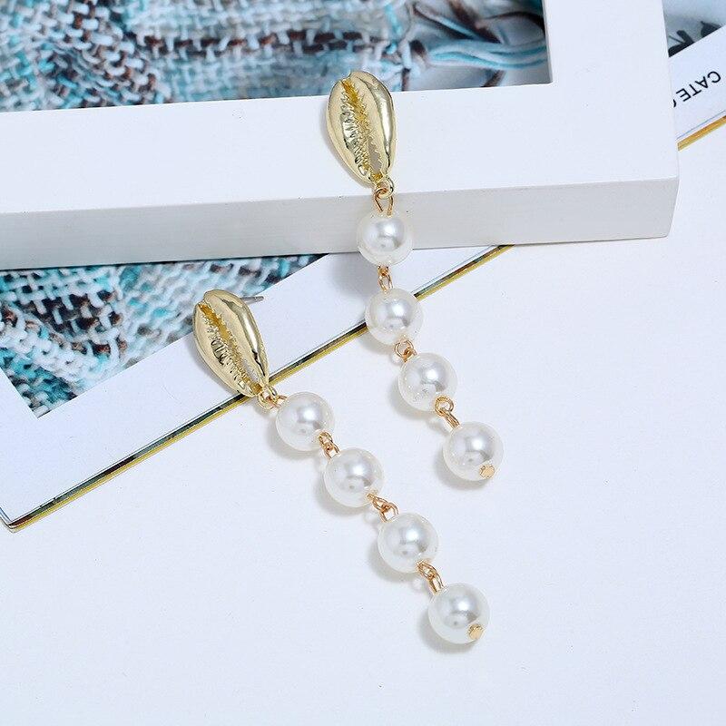 Bohopan Elegant Pearl Earrings For Women Hot Selling Shell Shape Dangle Fashion
