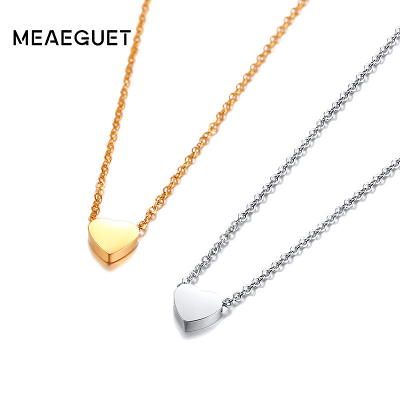 Dainty Heart Style Pendant Silver Gold Color Woman Necklace Stainless Steel No Fade Charm Chokers Love Jewellery Girlfriend Gift