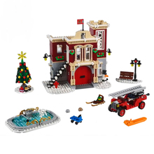 New Creator Set Compatible 10263 Fire Station Model Building Blocks DIY Bricks Education Toys Christmas Gifrts