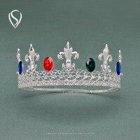 LIQUIDACIÓN Jeweled Rey Crown Tiara Cristalina para Los Hombres con Gemas de Joyería Del Pelo Real para La Boda Del Partido Del Festival Cosplay