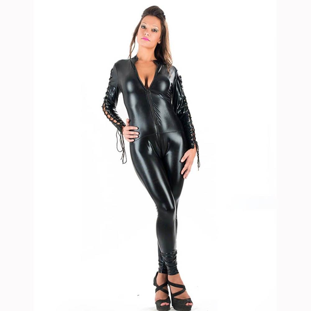 Seksi Wetlook Catsuit Faux Deri Tulum Kadınlar Dantel-up Bodycon - Bayan Giyimi - Fotoğraf 2