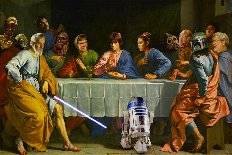 Custom Canvas Wall Decor Star Wars Crossover The Last Supper Poster Star Wars Wallpapers Funny Art Painting Wall Stickers #1168