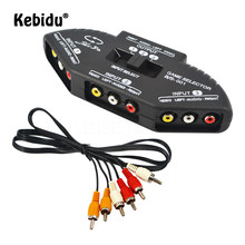 Chave seletora de áudio kebidu, vídeo av rca, switch, 3 para 1 rca, composto por cabo av para stb, tv, dvd player para xbox ps2