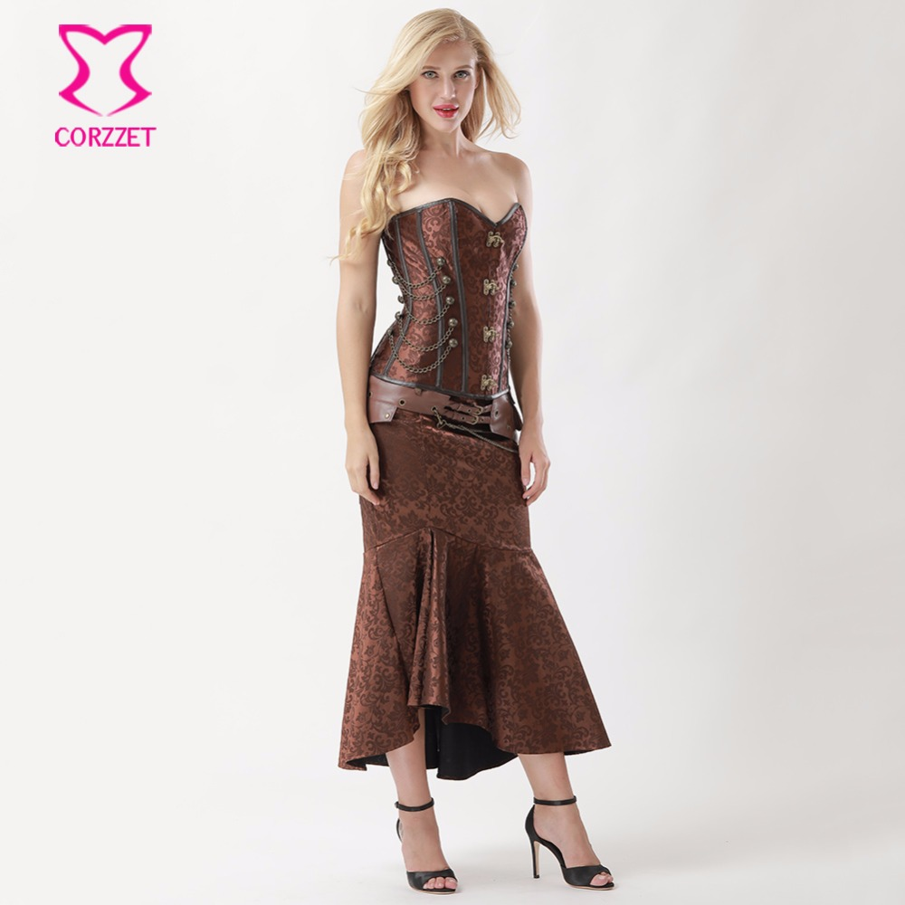 0d426cbcf1 Aliexpress.com : Buy Women Steampunk Corset Dress Vintage Brown Brocade  Corsets and Bustiers With Mermaid Skirt Set Burlesque Dresses Gothic  Clothing from ...
