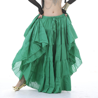 12 Colors Gypsy Dance Performance Women Gypsy Dance Full Circle Linen Skirt Women Belly Dance Tribal Skirts