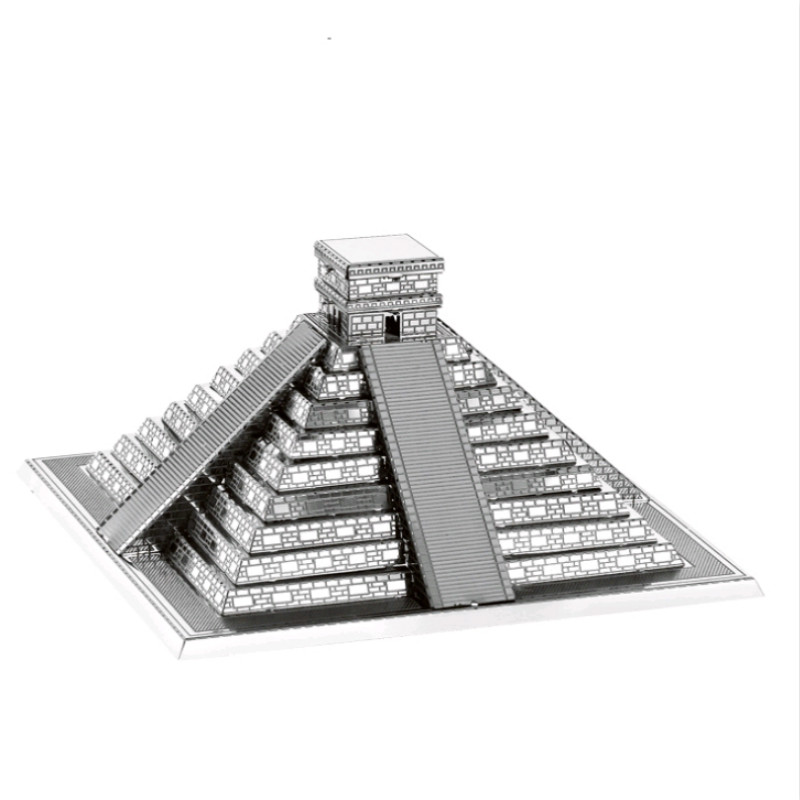 Metal Toy Pyramid 3D Metal Model Puzzle DIY Stainless Steel Model Assembly Kit Collection Home Decoration Small Ornaments
