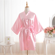 Hot Women robe Pink Silk Satin Robes Wedding Bridesmaid Bride Gown kimono Solid robe One size fit S-XXL cheap Rayon Polyester Faux Silk MeiYeSiDa Half Knee-Length One Size fits S-XXL Spring Floral Faux Silk Rayon