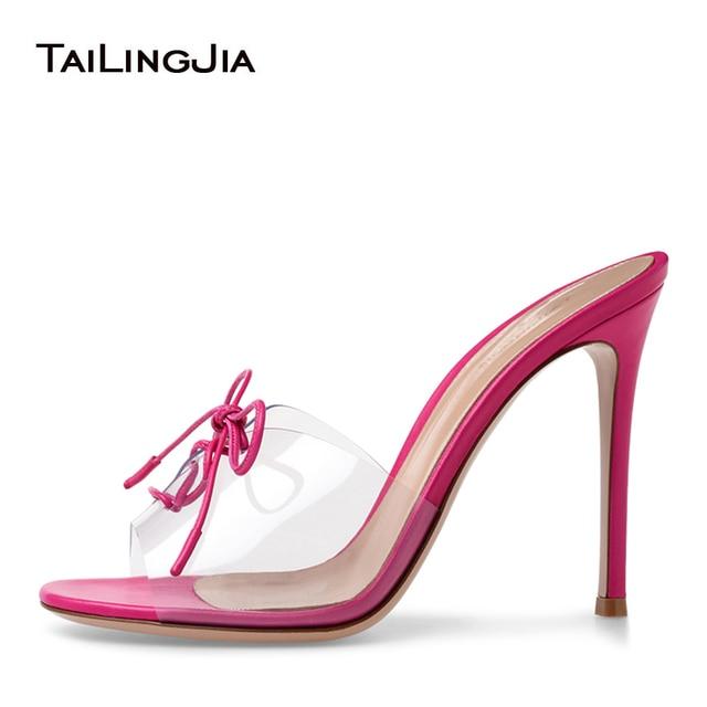 1bb233bc6e98b1 PVC High Heel Sandals Peep toe Lace up Transparent Mules Sexy Dress Heels  2018 Stiletto Heel