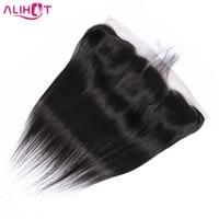 Ali Hot Peruvian Straight Hair 13*4 Lace Frontal Closure With Baby Hair 100% Human Hair Free Part Lace Closure