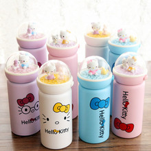 VILEAD Cartoon Cat Micro Landscape 304 Stainless Steel Mug Cup Portable Lifting Rope Design For Students Children Kids