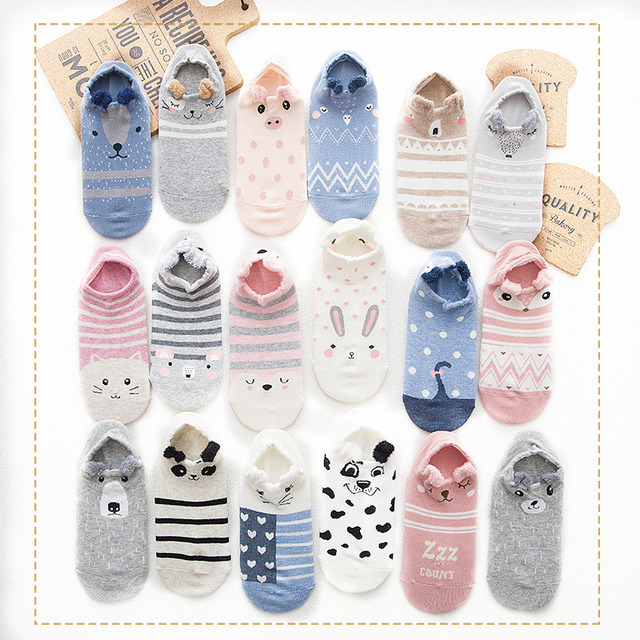 f59af6f5eff New Spring Summer Ladies Shallow Mouth Invisible Sock Slipper Cartoon  Cotton Women Animal Cat Boat Socks No