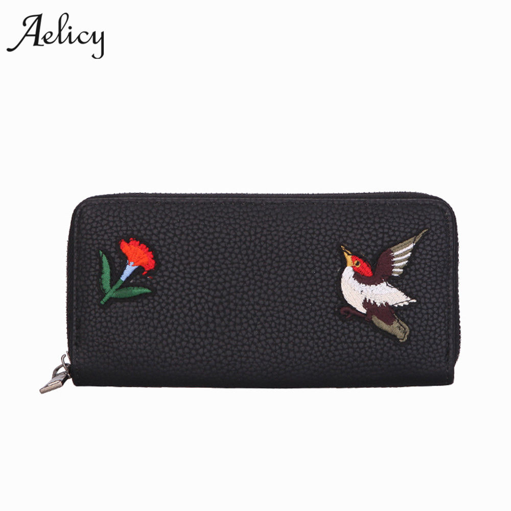 Aelicy High Quality Embroidered Women Purse PU Leather Women Wallet Brand Female Purse Long Zipper Coin Pocket With Card Holder moana maui high quality pu short wallet purse with button