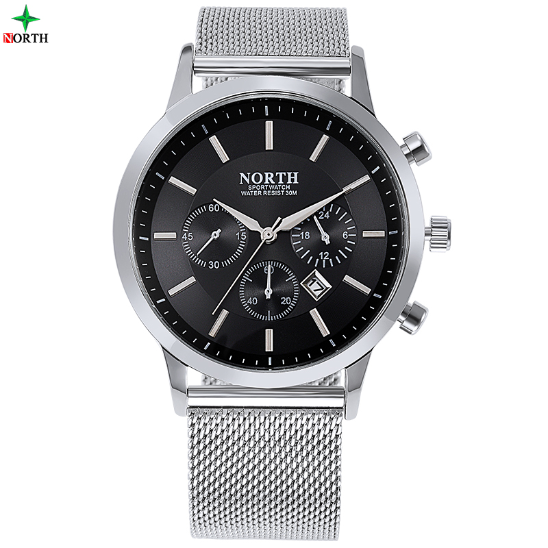 NORTH Male Business Watch 2017 Fashion Design Wristwatch 30M Waterproof Casual Strap Military Quartz Analog Business Watch Men goblin shark sport watch 3d logo dual movement waterproof full black analog silicone strap fashion men casual wristwatch sh165
