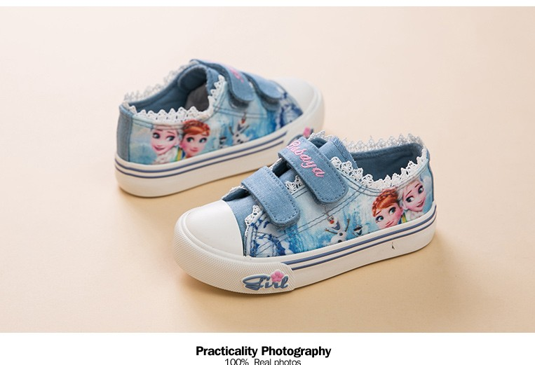 Princess Girls Shoes For Kids Fashion Elsa Anna Kids Shoes 2017 Ice Snow Queen Casual Denim Canvas Children Shoe Girl Sneakers 520 (10)
