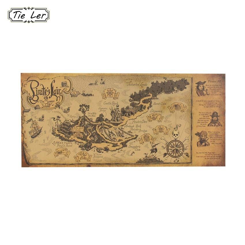 TIE LER Guarida Pirata Mapa Retro Nostálgico Cartel de Papel Kraft Vintage Decor