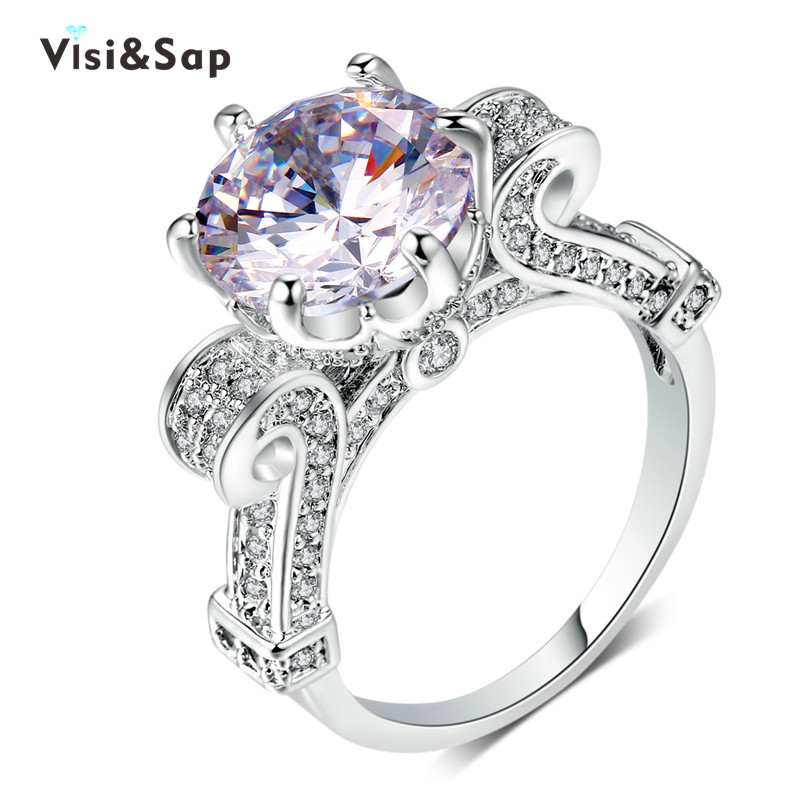 Visisap Luxury <font><b>Cup</b></font> <font><b>Ring</b></font> 8ct Clear Cubic Zirconia Queen <font><b>Rings</b></font> For Women Wedding Size 5-10 fashion jewelry White Gold Color VSR289