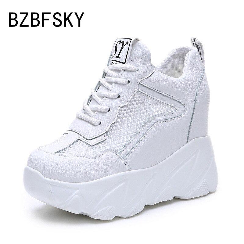 BZBFSKY nouvelles chaussures femmes chaussures de sport d'été chaussures augmentées femmes maille respirante petites chaussures blanches baskets femmes
