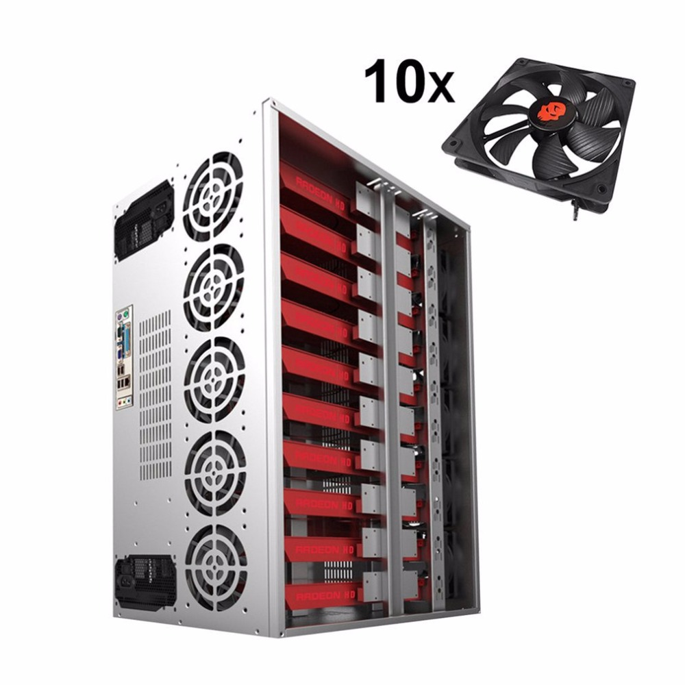 New Arrival Crypto Coin Open Air Mining Miner Frame Rig Graphics Case 12 GPU ETH 10 Fans ...