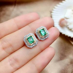 Image 3 - MeiBaPJ Luxurious Natural Columbia Emerald Gemstone Jewelry Set 925 Sterling Silver 3 Siut Green Stone Fine Jewelry for Women