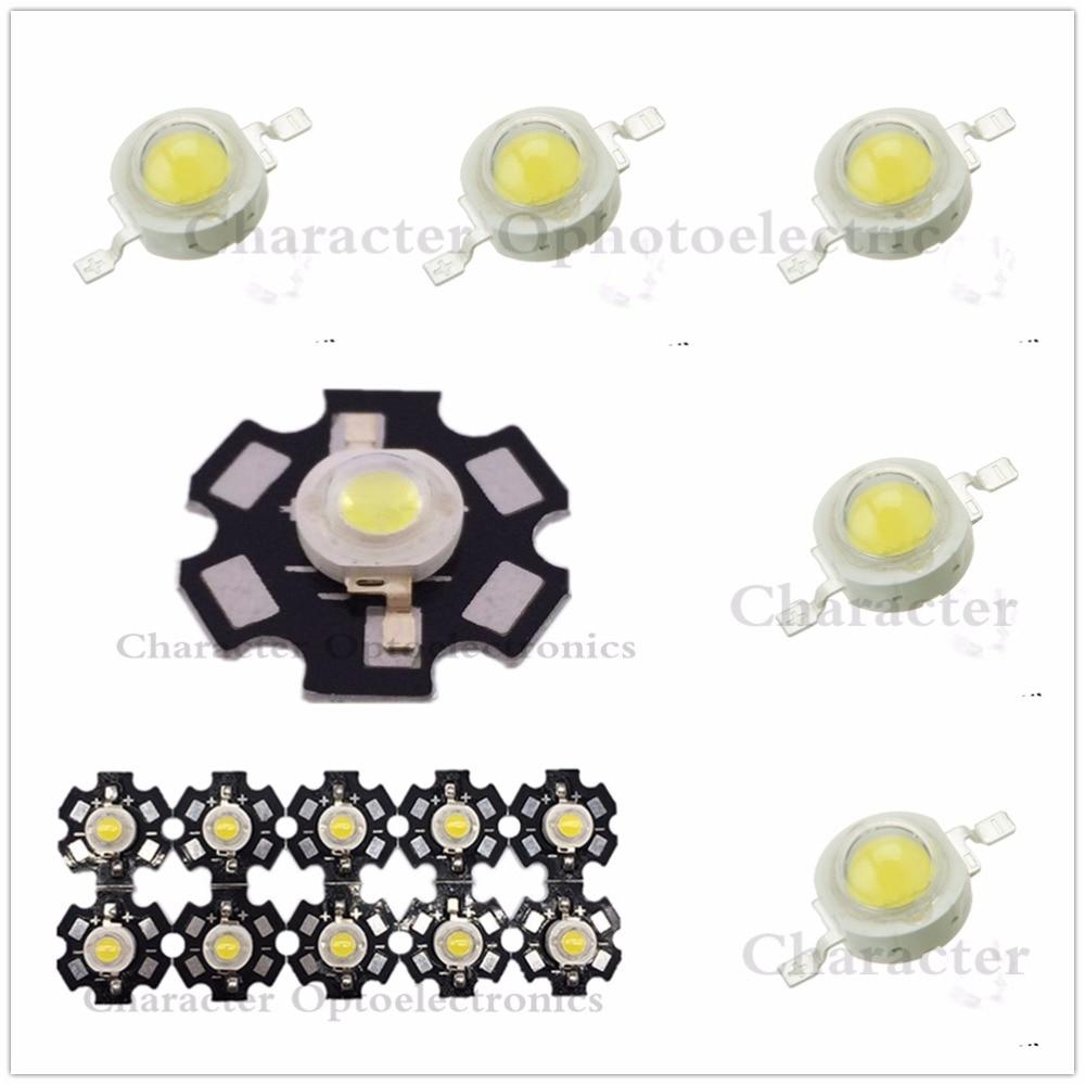10pcs 1W 3W High Power  3000K 4000K 6000K 10000K 20000K 30000k LED + 20mm Star Pcb/ No Pcb