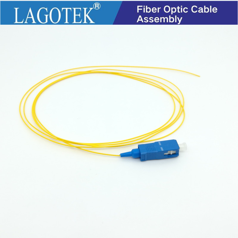 50PCS/lot  SC/UPC  Fiber Pigtail Simplex 9/125 Single Mode Fiber Optic Pigtail  0.9mm LSZH Yellow