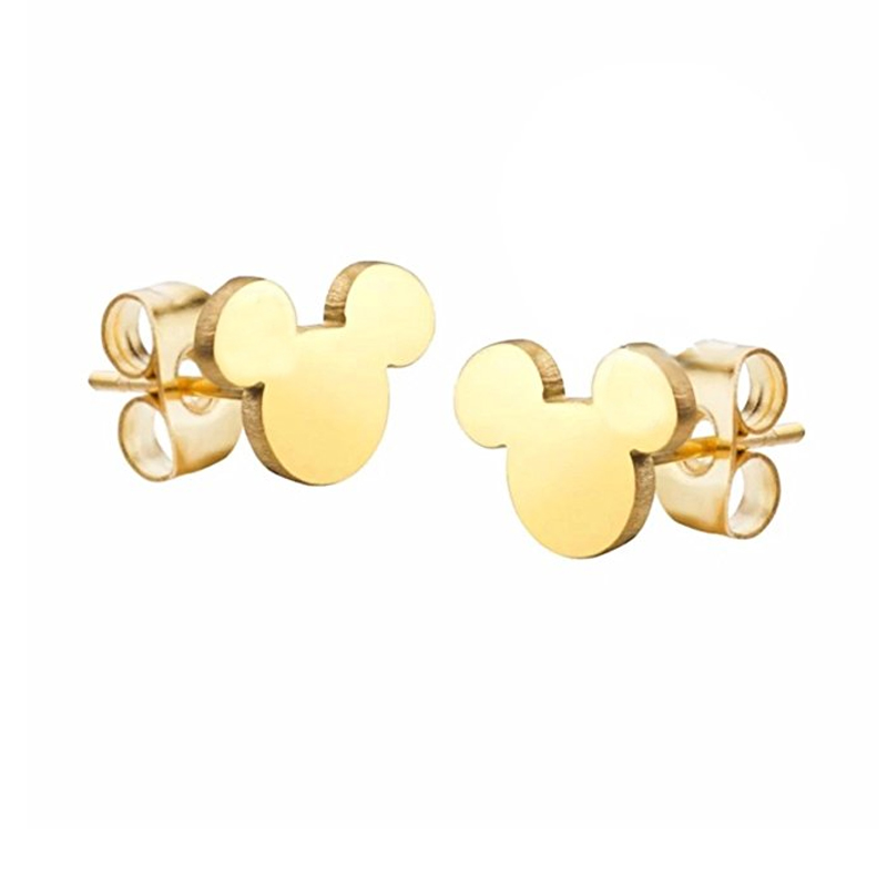 Minimal Children's Cartoon Miki Mouse Stud Earings Women Fashion Jewelry 2017 Boucle D'oreille Femme Rose Gold Color Binrcos(China)