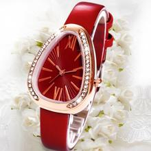 цены Fashion Women Zirconia Triangle Dial Snake Pattern Strap Quartz Wrist Watch New
