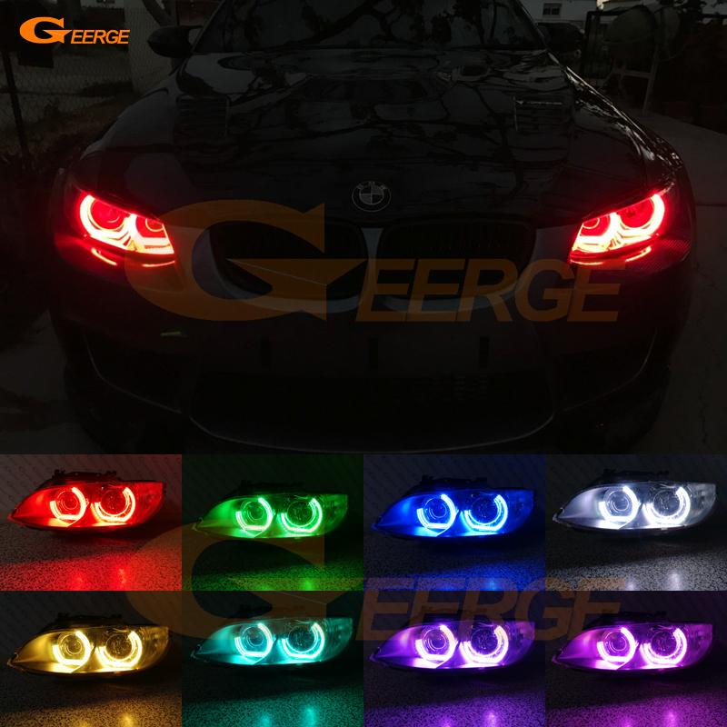 For BMW 3 Series E90 E92 E93 M3 Coupe cabriolet 2007-2013 Excellent DTM M4 Style Ultra bright Multi-Color RGB LED Angel Eye kit