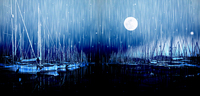 Large Canvas Wall Art Print Harbor Paintings Boats Night Moon Pictures Modern Home Decor Unframed Canvas