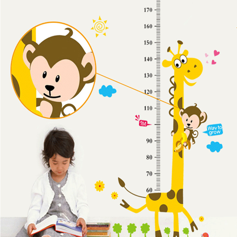 Cartoon Giraffe Height Ruler Wall Sticker Baby Room Children Bedroom Wall Stickers Home Decor Wall Art Sticker Wallpaper Poster