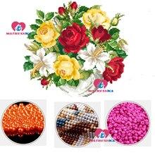 Diy Вышивка крестиком бисером вышивка роза цветок вышивка бисером домашний декор Рукоделие 5d Вышивка бисером частичная вышивка