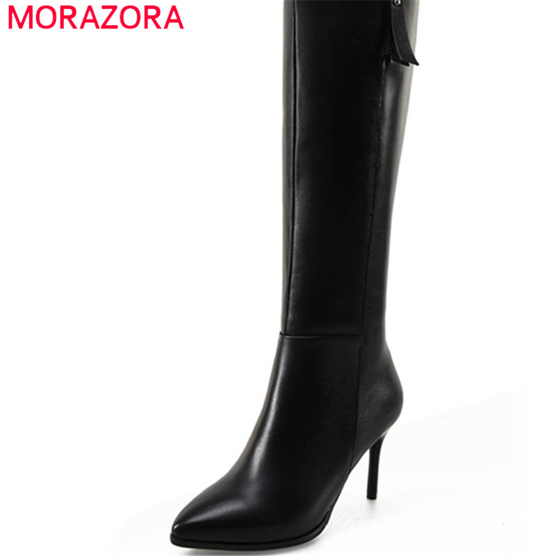 MORAZORA 2020 new fashion shoes woman genuine leather pointed toe short plush knee high boots sexy
