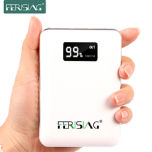 FERISING 10400mAh Power Bank 3 USB External 18650 Lithium Battery 10000mAh+ 2A Charger Portable Pover Powerbank with LED Display