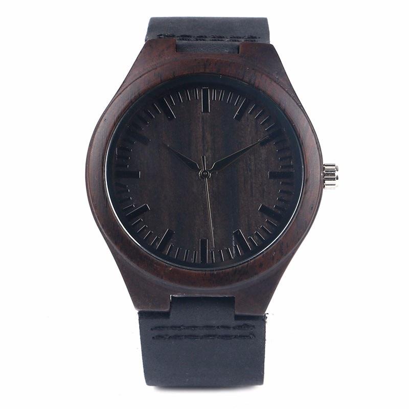 Hot Sale Men s Black Natural Wooden Watch Genuine Leather Wristwatch Good Quality Quartz Wristwatches Wood