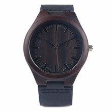 Venta caliente de Los Hombres Negro de Cuero Genuino Reloj de Pulsera De Madera Natural de Buena Calidad Relojes de pulsera de Cuarzo Reloj De Madera Top Artículo de Regalo