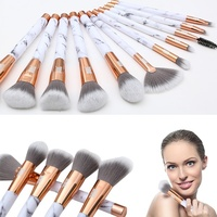 BBL 11pcs Luxe Elegant Marble Handle Makeup Brushes Set Cosmetic Case Foundation Blending Brush Beauty