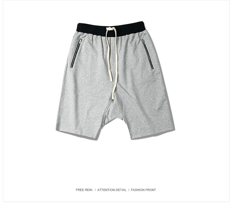 79d11e97d7fb 2017 Summer Justin Bieber Kanye West Fashion Unedged Dropped Crotch Knee  Length Men Shorts with Zip Pocket Hip Hop Asian Size-in Casual Shorts from  Men s ...