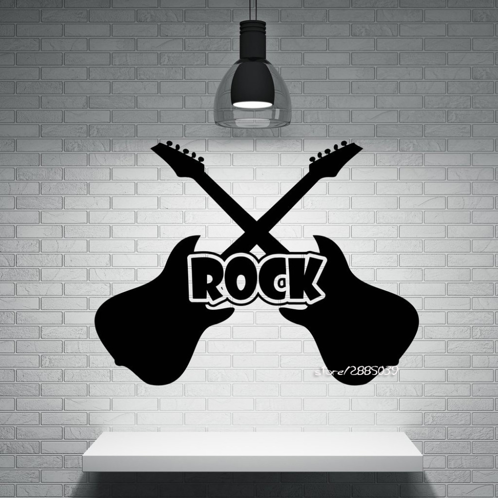 Decalques Da Parede Do Vinil Adesivos De Parede Instrumento Guitarra  -> Papel De Parede Para Sala Rock N Roll