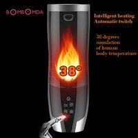 Automatic Heating Masturbator for Men Retractable Realistic Vagina Pussy Masturbation Cup Pussy Licking Vibrator Oral Sex Toys