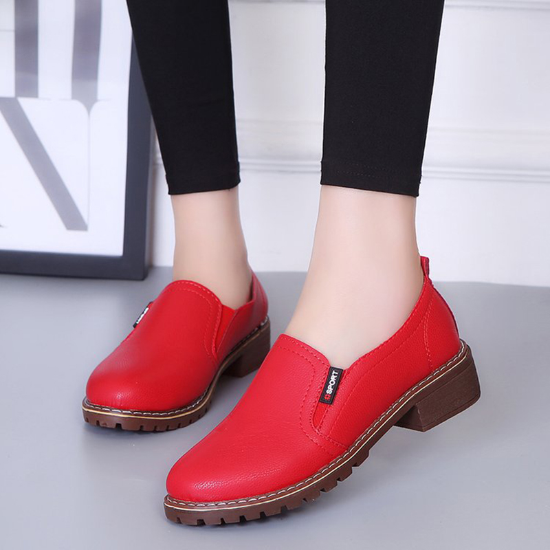 Shoes Woman Loafers Flat Shoes Square Heel Breathable Casual Shoes Slip On Moccasins Female Shoes Round Toe Women Sneakers