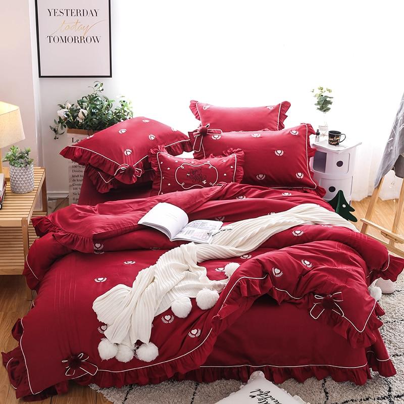 Wine red Korean princess style bowknot Egyptian cotton Bedding Set Queen King Size Duvet Cover Bed Linen Bed sheet PillowcasesWine red Korean princess style bowknot Egyptian cotton Bedding Set Queen King Size Duvet Cover Bed Linen Bed sheet Pillowcases